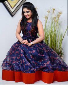 Dress made by sarees . inbox to make orders if u wanna change ur old sarees to preety outfit. Lehenga Gown, Frock Dress, Anarkali Dress, Kalamkari Dresses, Ikkat Dresses, Frock Fashion, Fashion Dresses, Frock Models, Long Dress Design