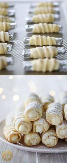 Learn how to make these Cream Horn Cookies (Lady Locks) Cream Horn Cookies (Lady Locks) Christmas cookie recipe Chocolate Cookie Recipes, Easy Cookie Recipes, Sweet Recipes, Italian Cookie Recipes, Italian Cookies, Italian Desserts, Chocolate Cookies, Holiday Baking, Christmas Baking