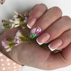 ✔ 38 best spring nail art designs ideas 2019 17 in 2020 Tulip Nails, Flower Nails, Cute Nails, Pretty Nails, My Nails, Nail Polish, Nail Manicure, Spring Nail Art, Spring Nails