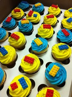 LEGO Cupcakes with edible LEGOs - the question is, can I figure out how to make them?