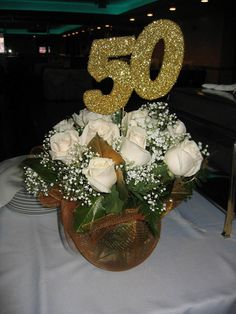 flower arrangements for a 50th anniversary party