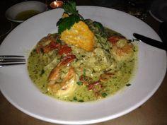 Carmen Trattoria (North End, Boston). Pictured: Black pepper tagliatelle with pesto cream sauce and shrimp.