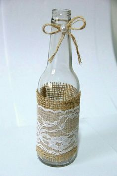 Wine Bottle Art, Diy Bottle, Wine Bottle Crafts, Garrafa Diy, Vase Crafts, Decoupage Vintage, Vase Centerpieces, Bottles And Jars, Mason Jar Diy