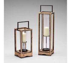 Large Ranger Riveted Candle Lantern - The candle is supported on a simple straight stem and bobeche. This is the contemporary style candleholder that has the height of 25.5 inches, width is 7.75 inches and depth is 7.75 inches.
