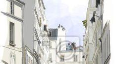 Fototapete bau, café, stadt - straße nahe montmartre in paris  ✓  Breite Materialauswahl ✓ 100% Öko-Druck ✓ Sieh die Meinungen unserer Kunden!