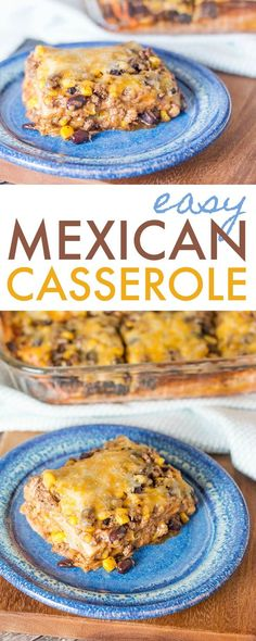 This easy Mexican casserole recipe is quick dinner option that will please everyone. It's like a taco lasagna and is filling and delicious. #dinner #Mexican #recipe #casserole