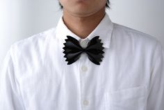 Japanese design studio Microworks created a wearable Farfelle Bowtie. Made from bright acrylic, the clip-on tie is an imitation of the pasta shape, for an amusing twist on men's party attire. #mademesmile