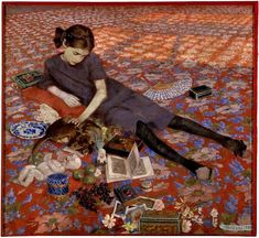 felice casorati - ragazza su tappeto rosso - 1912