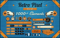 Freebie: Vintage Pixel GUI Set, 1000+ Vintage Elements  | web design inspiration | digital media arts college | www.dmac.edu | 561.391.1148