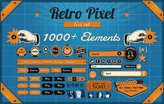 Freebie: Vintage Pixel GUI Set, 1000+ Vintage Elements  | web design inspiration | digital media arts college | www.dmac.edu | 561.391.1148