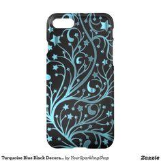#Blue Black Decorative Metallic Look Stars  #iPhone7 Case #giftideas