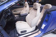 Bentley Continental GT Speed Convertible  - white and blue interior via Bentley PR