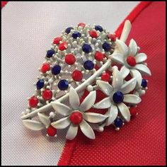 Patriotic Pin Red White Blue RS Brooch Americana 1950s Vintage Jewelry