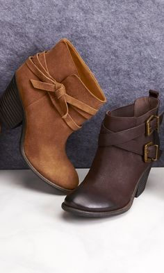 Genuine suede bootie with a walkable stacked heel, wrap around strap detailing and rounded toe.
