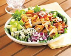 Grilled Chicken, Green Apple and Bacon Chop Salad | Grilled Chicken, Green Apple and Bacon Chop Salad Recipe - Crunchyfresh green applescomplementthe smokey flavor of bacon and grilled chicken with a sweet poppyseed dressing. #Schwans #EasyRecipes #Inspiration