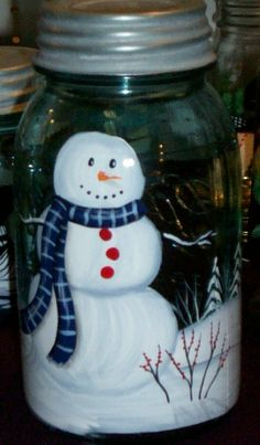 Half Gallon Snowman Handpainted Vintage Mason by ourhousecraft