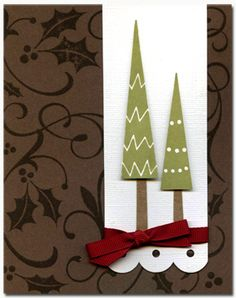 Two Trees...By Shari Carroll  Create natural, clean cards with simple trees and a bit of scallop edging.