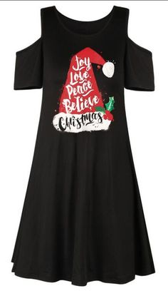 Women Mini Dress Christmas Hat Letter Print Off Shoulder Evening Party Dress Vintage Dresses, Vintage Outfits, Cotton Hat, Retro Dress, Christmas Hat, Christmas Dresses, Womens Christmas, Christmas Print, Xmas