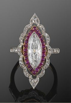 Edwardian Marquise Diamond And Ruby Ring
