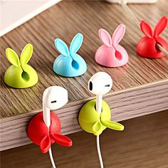 4 Pcs Universal Cute Rabbit Bunny Earphone USB Cable Holder Winder Cable Management Organizer (Pink): Amazon.ca: Electronics