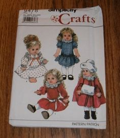 "Simplicity 9478 - Doll Clothes for 14"", 16"", 17"" & 18"" Dolls"