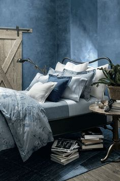 bedroom with washed denim walls, pantone riverside, dusty blue, smoky blue… Blue Rooms, Blue Bedroom, Bedroom Decor, Blue Walls, Azul Niagara, Pale Dogwood, Ralph Lauren Paint, Modern Room, Home Interior