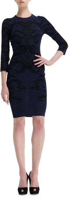 Alexander McQueen Spine Lace Jacquard 3/4-Sleeve Dress