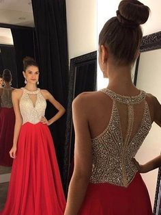 A-Line/Princess Sleeveless Halter Beading Sweep/Brush Train Chiffon Dresses
