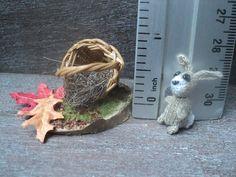 Dollhouse miniature crochet rabbit with basket micro scale