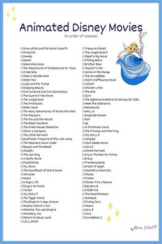 Want to do a Disney movie marathon and watch every single animated Disney movie in order of release? Click through to ge Disney Princess Movies List, Every Disney Movie, Classic Disney Movies, Disney Movies To Watch, Non Animated Disney Movies, Disney Movies By Year, Disney Classics List, Disney Movie Songs, Disney Original Movies List