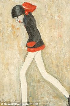 This rare painting by L. Lowry, depicting a girl donning a miniskirt in the today sold for nearly at auction Road Painting, Painting Of Girl, Classic Paintings, Beautiful Paintings, Funny Paintings, Spencer, English Artists, Naive Art, Girl With Hat