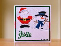 Christmas Card, Handmade - Marianne Santa & snowman dies.  For more of my cards please visit CraftyCardStudio on Etsy.com.
