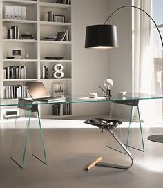 Rectangular #glass #table KASTEEL by @Tonelli Design | #design Moe Design Lab #office | Home office.