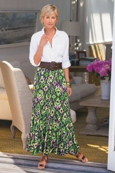 @Soft Surroundings Alhambra Skirt - Long Green Skirt, Long Print Skirt, Maxi Print Skirt   Soft Surroundings