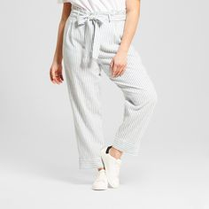 Women's Plus Size Paperbag Pant - Who What Wear Blue Stripe 18W