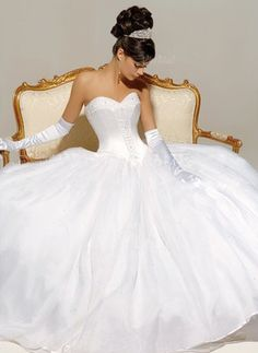 Wedding Dresses - $209.82 - Ball-Gown Sweetheart Chapel Train Organza Satin Wedding Dress With Lace Beading (00205001326)