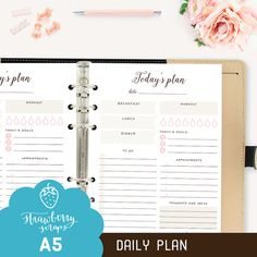 A5 Daily planner printable: TODAYS PLAN For A5 planner  Get organised with this stunning A5 daily planner printable featuring a meal planner,
