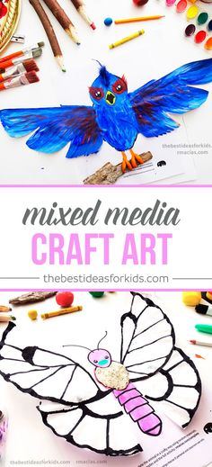 Bird paper bag and Butterly Coffee Filter crafts. These are so fun to make! Mixed media art craft where you use your creativity to finish the picture Kids crafts   Kids activities   Watercolor crafts   Playdough crafts   Coffee Filter crafts   Bird crafts   Butterfly crafts   Animal crafts   Toddler Crafts   Preschooler crafts