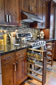 Marble, tiles and wood; the three things that can make your kitchen look so much more high class. Add extremely useful closets and drawers and you can instantly have a great cooking experience.