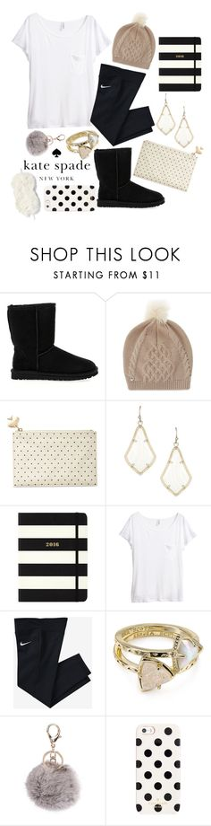 """""""Kate Spade"""" by so-preppy ❤ liked on Polyvore featuring UGG Australia, Kate Spade, Kendra Scott, H&M, NIKE and Nordstrom"""
