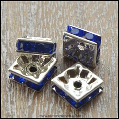 Sapphire Blue Rhinestone Square Spacer Beads