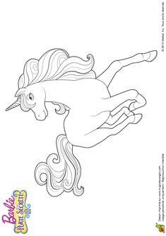Coloring Barbie movie and the secret door, Queen unicorns - Hugolescargot.com