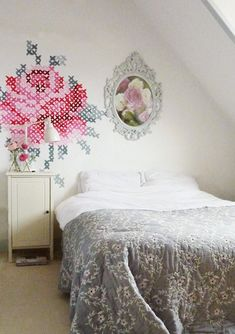 cross stitch wall mural