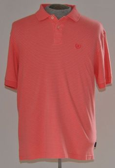 Men's Izod Golf Polo Shirt 100% Cotton Coral with White Strips Sz L Short Sleeve