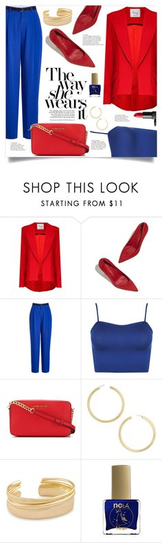 """Red & Royal Blue"" by nadyabyne ❤ liked on Polyvore featuring Hebe Studio, Joseph, WearAll, MICHAEL Michael Kors, BaubleBar, Kendra Scott, ncLA and NARS Cosmetics"