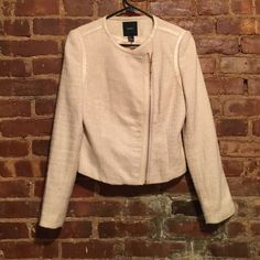 Forever 21 Blush Tweed Moto Jacket Tough and ladylike! Zippered moto jacket in soft blush tweed. Vegan leather detailing at the shoulder and collar. Slightly cropped fit. Perfect over a dress or just black jeans. Shows some wear at the cuffs. Forever 21 Jackets & Coats