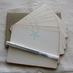 Blue Starfish Beach Stationary  set of 8 by TorisCustomCreations, $10.00