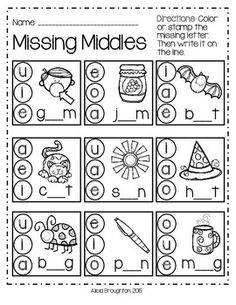 Thanks+for+checking+out+Missing+Middles+Freebie!++In+this+printable,+students+will+identify+the+missing+vowel+sounds+in+CVC+words+and+practice+writing+the+letter+in+that+word.  Enjoy! Alicia+Broughton+:)