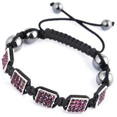 Purple Cubic Nylon Crystal Hematite Bracelets Jewelry Gift
