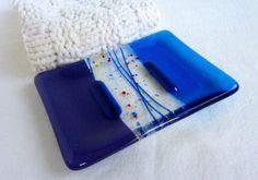 Glass Soap Dish in Dark Cobalt Blue by bprdesigns on Etsy, $13.00